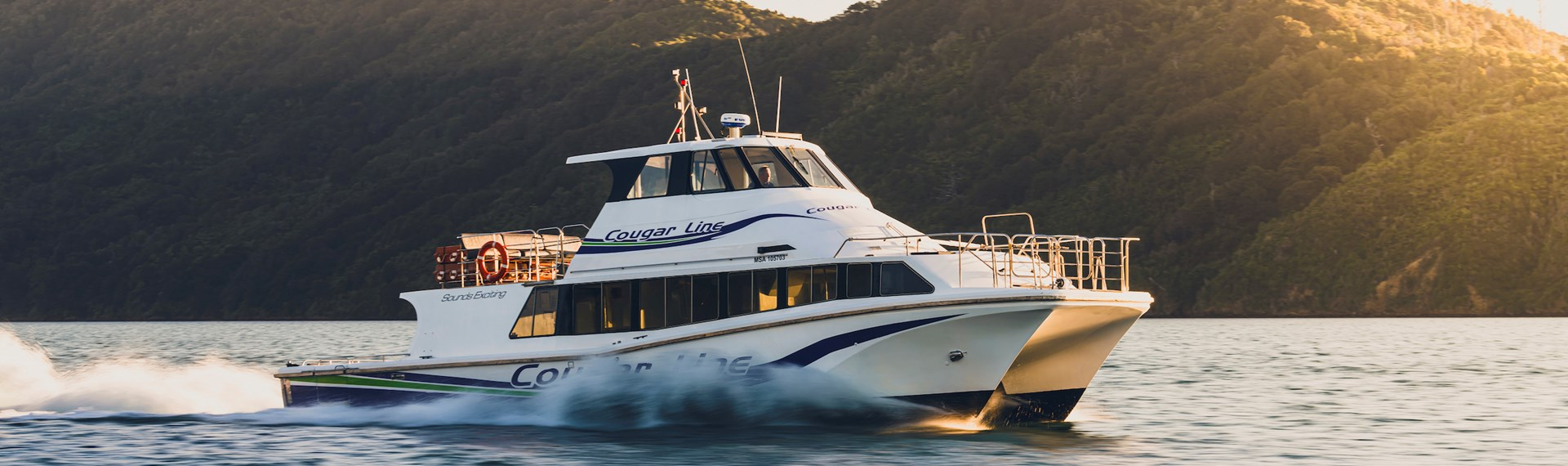 Cougar Line boat Sounds Exciting cruises through calm waters in Queen Charlotte Sound/Tōtaranui, Marlborough Sounds, New Zealand